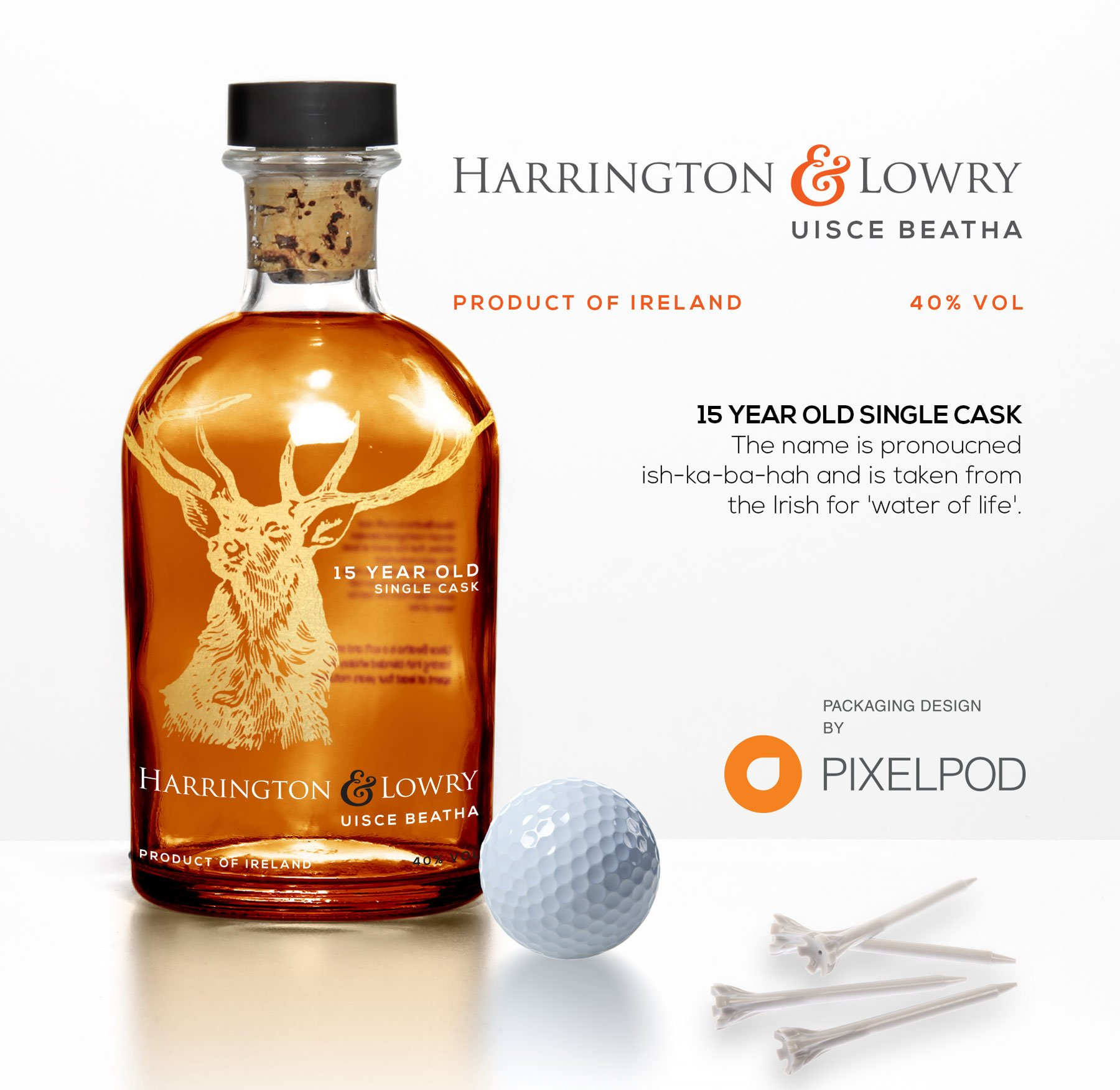 Harrington and Lowry whiskey, packaging design by pixelpod