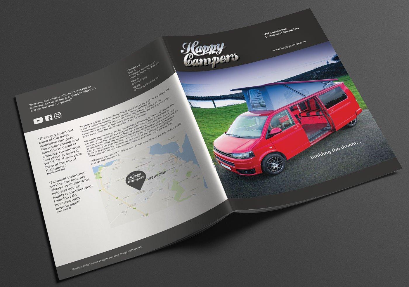 Happy Campers brochure pixelpod graphic design wexford