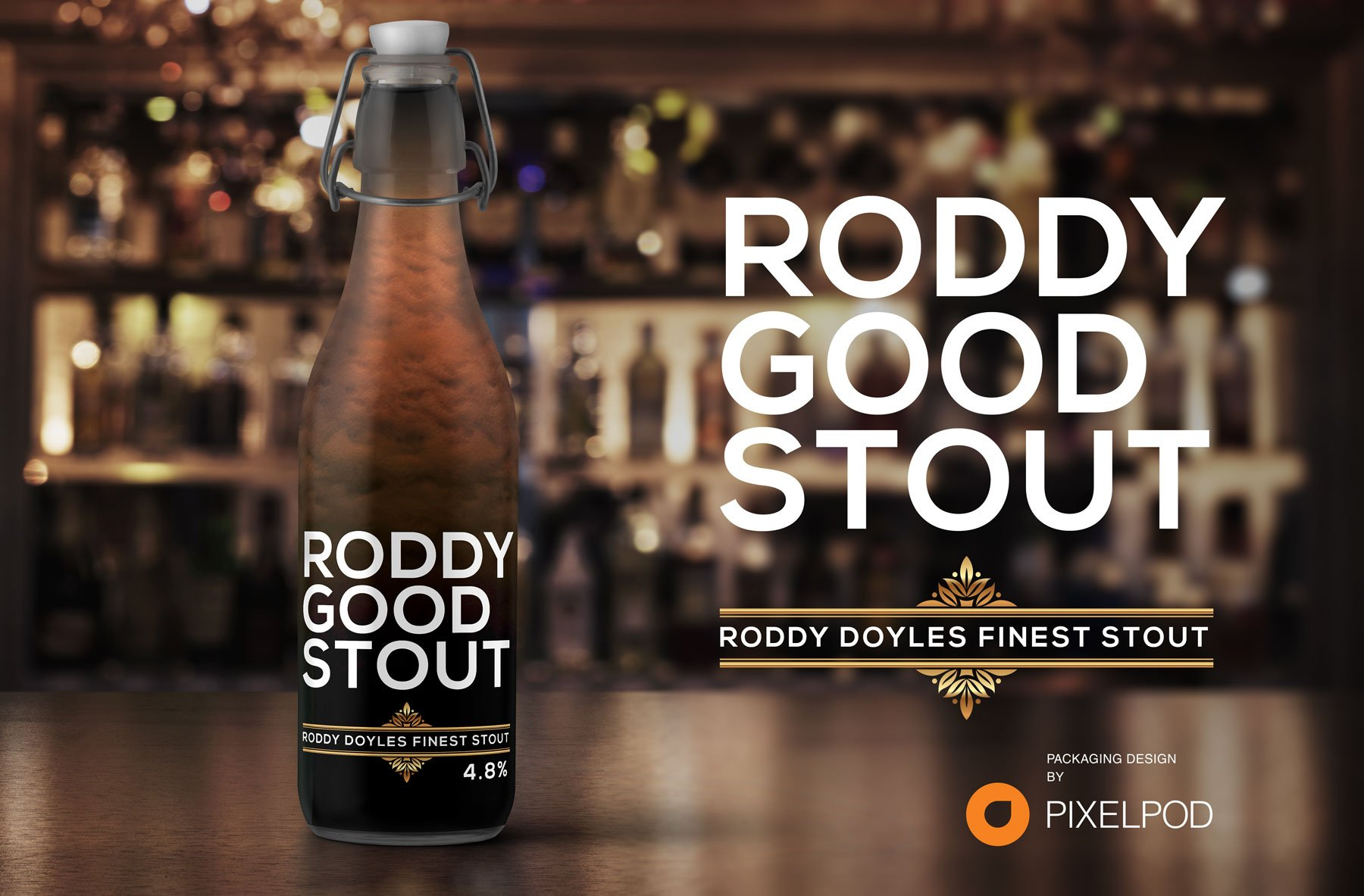 Roddy Doyle Stout, packaging design by pixelpod