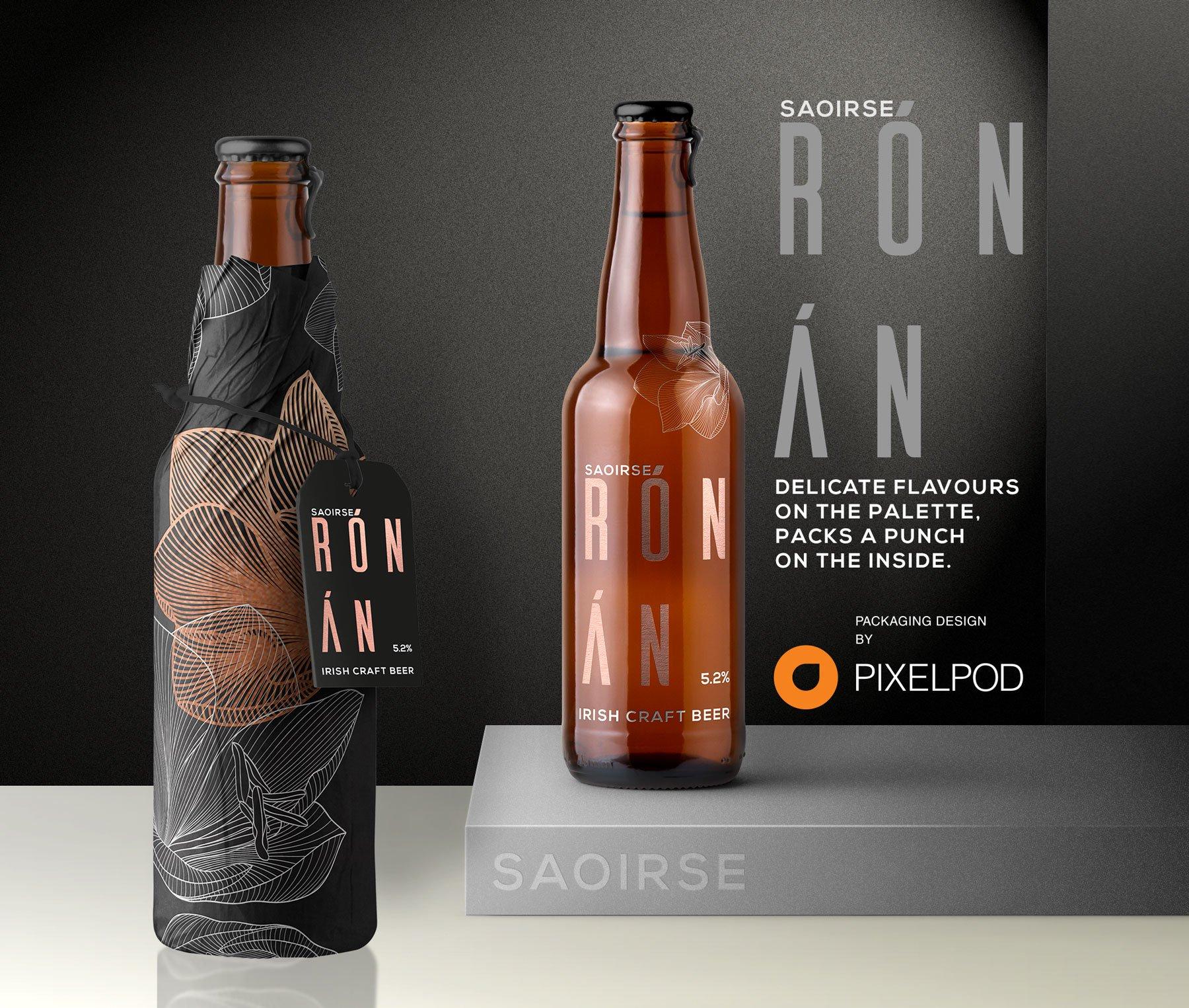 Saoise Ronan Irish craft beer, packaging design by pixelpod
