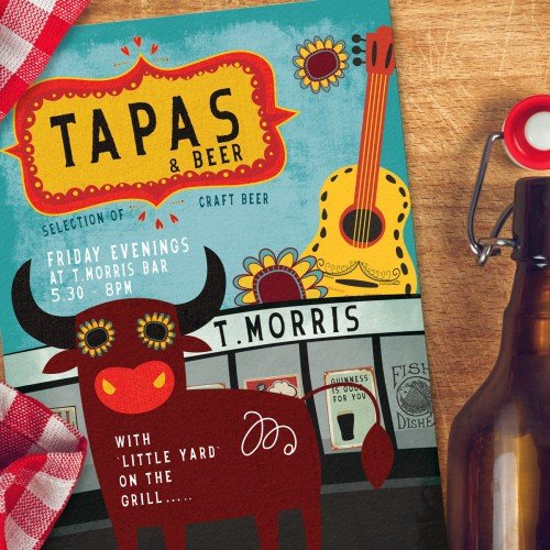Poster design, advertising, Tapas and Beer poster, T-morris