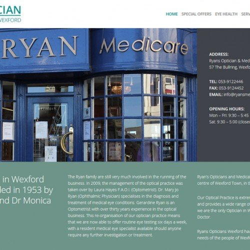 Redesign of Ryan Opticians responsive website,