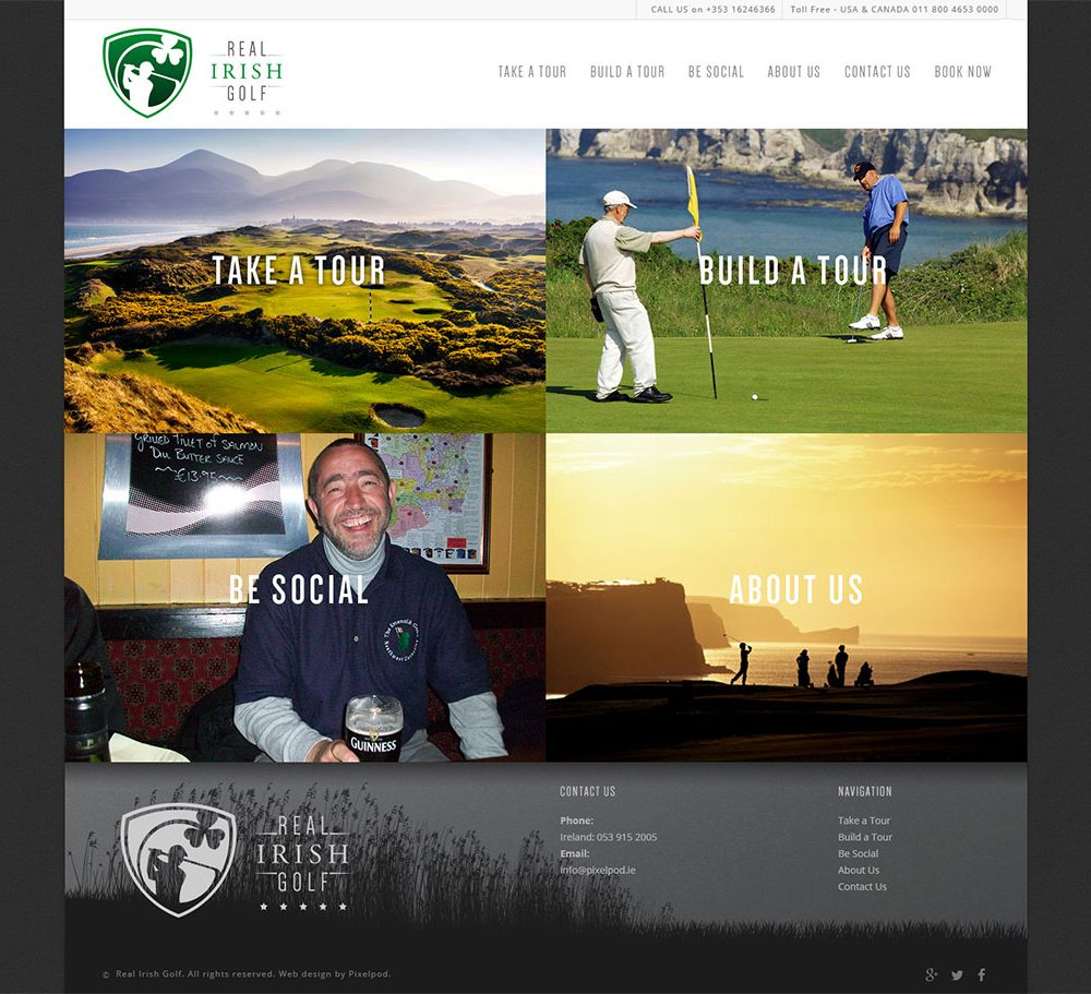 Real irish golf Mobile ready web design. Website design wexford pixelpod