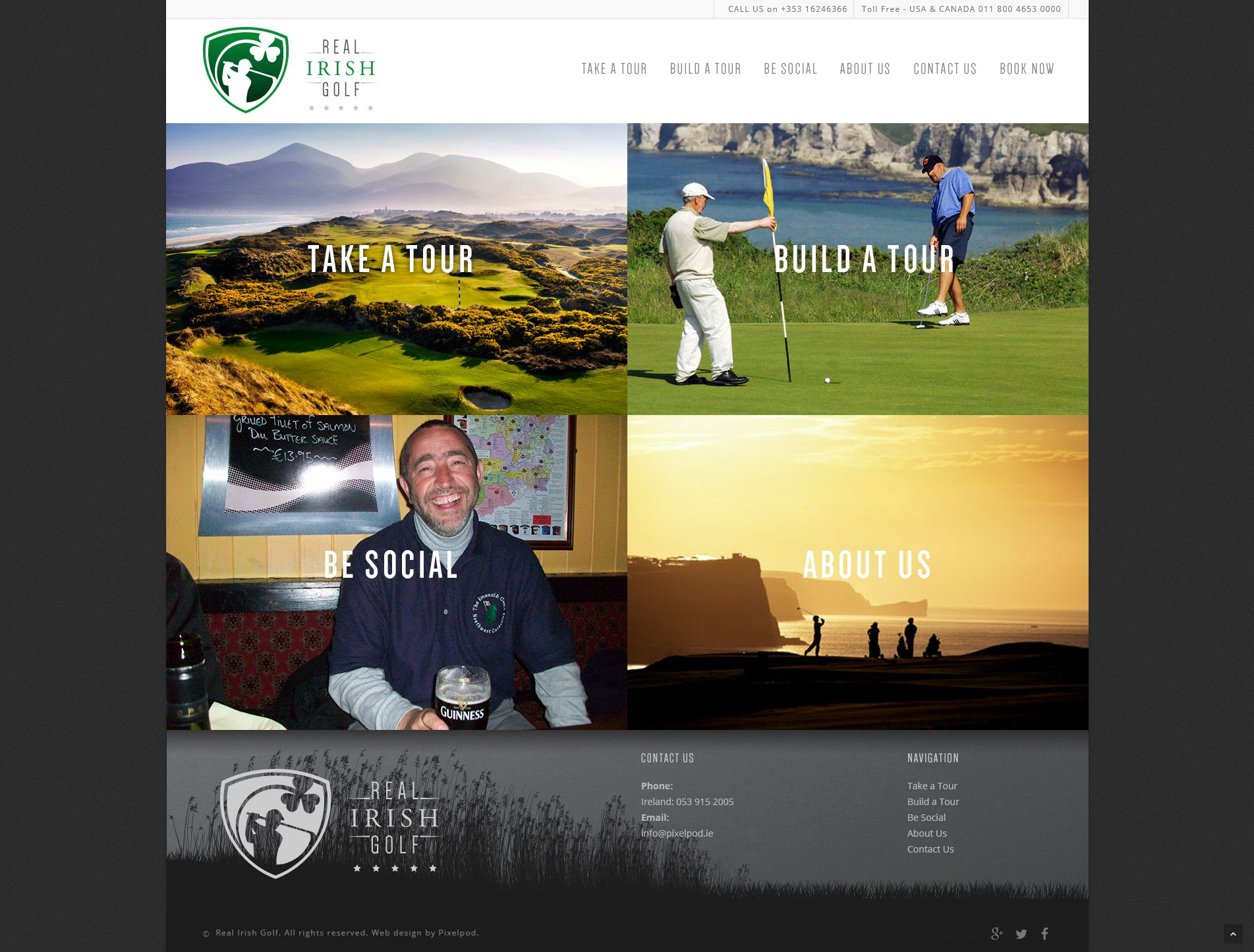 Real irish golf Mobile ready web design. Website design wexford pixelpod.