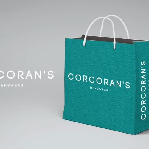 Corcorans bag design. graphic design, web design, branding Wexford.