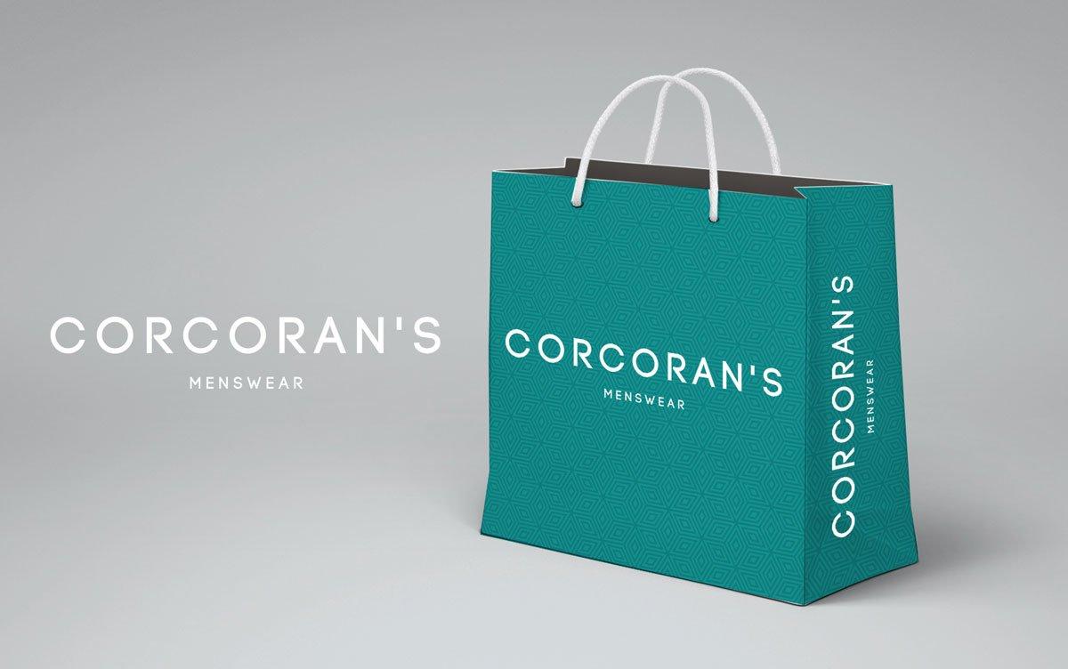 Corcorans bag design. graphic design, web design, branding Wexford.