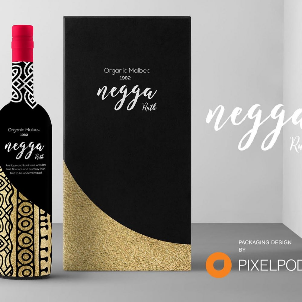 Ruth Negga wine packaging, packaging design by pixelpod