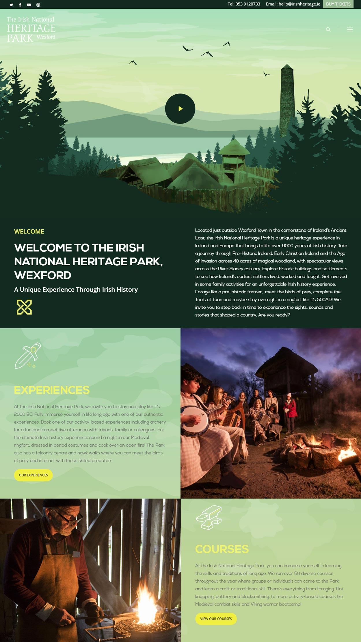 responsive web design irish national heritage park desktop website design by pixelpod
