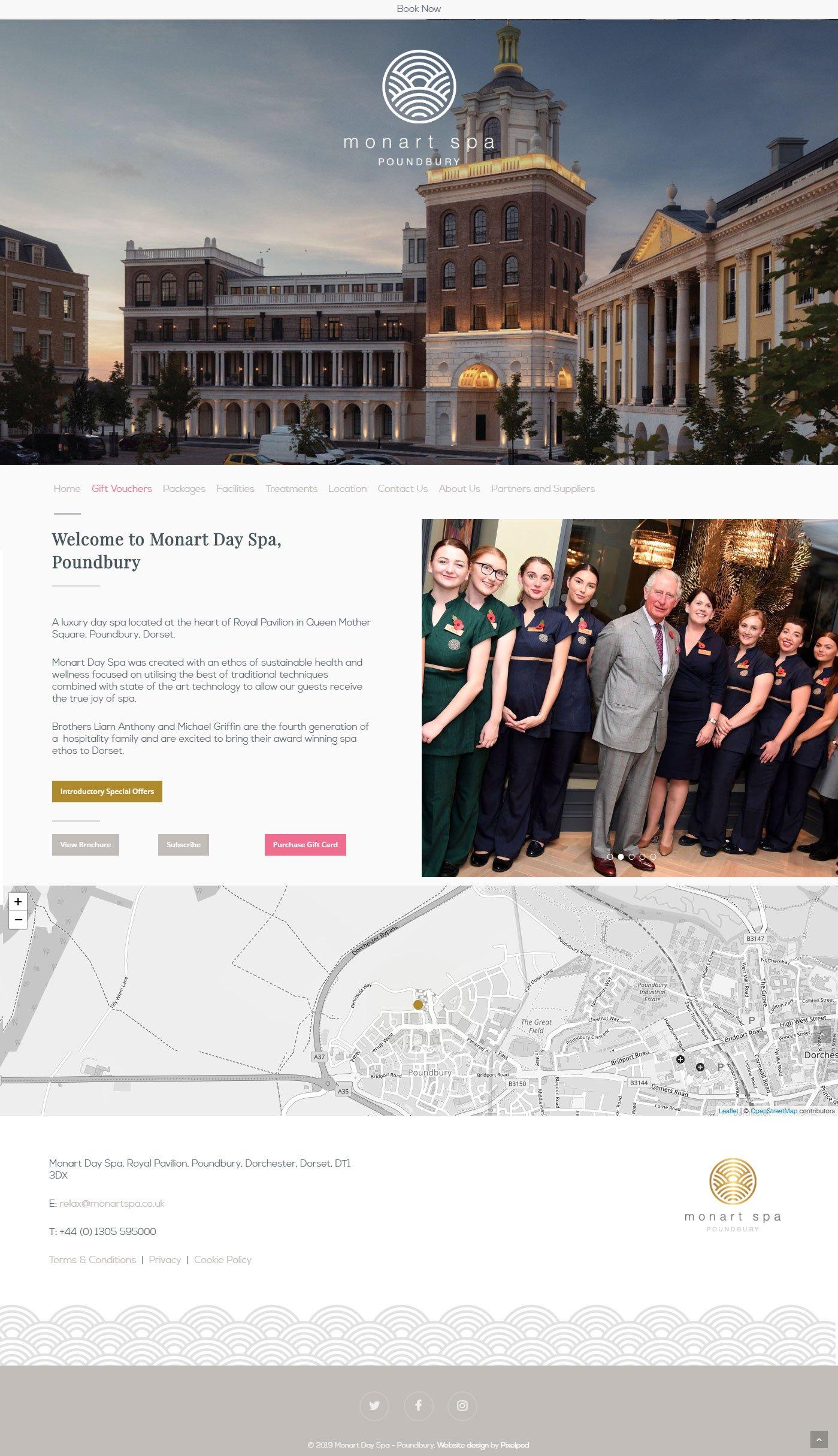 monart poundbury website homepage by pixelpod