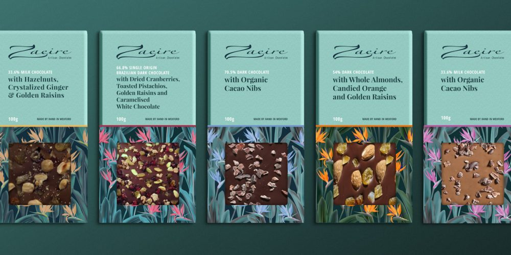 Zaeire chocolate packaging design wexford pixelpod bar mockup flavours